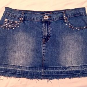 Dresses & Skirts - Stretchy denim studded mini skirt